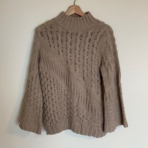 Curio High Neck Flare Sleeve Open Knit Sweater